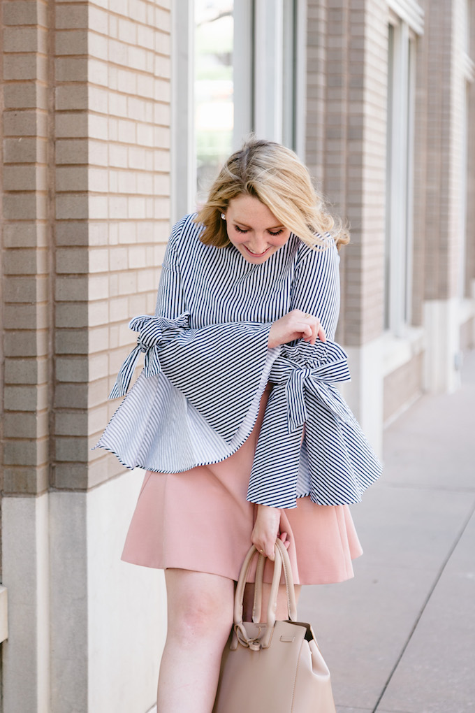 Blue and White Striped top for summer
