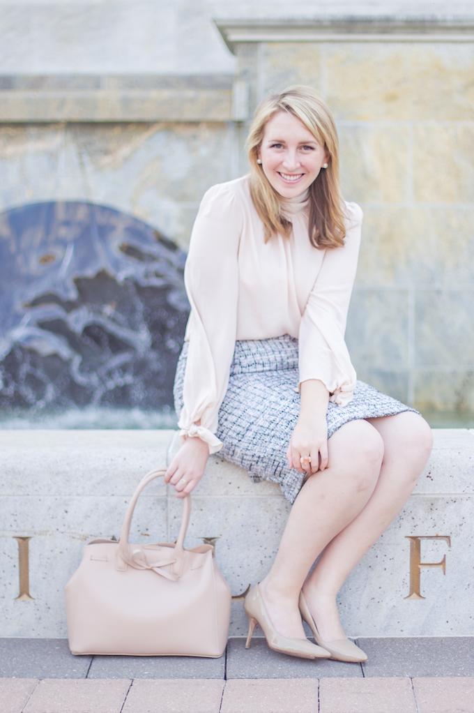 Grid Fringe Tweed Pencil Skirt