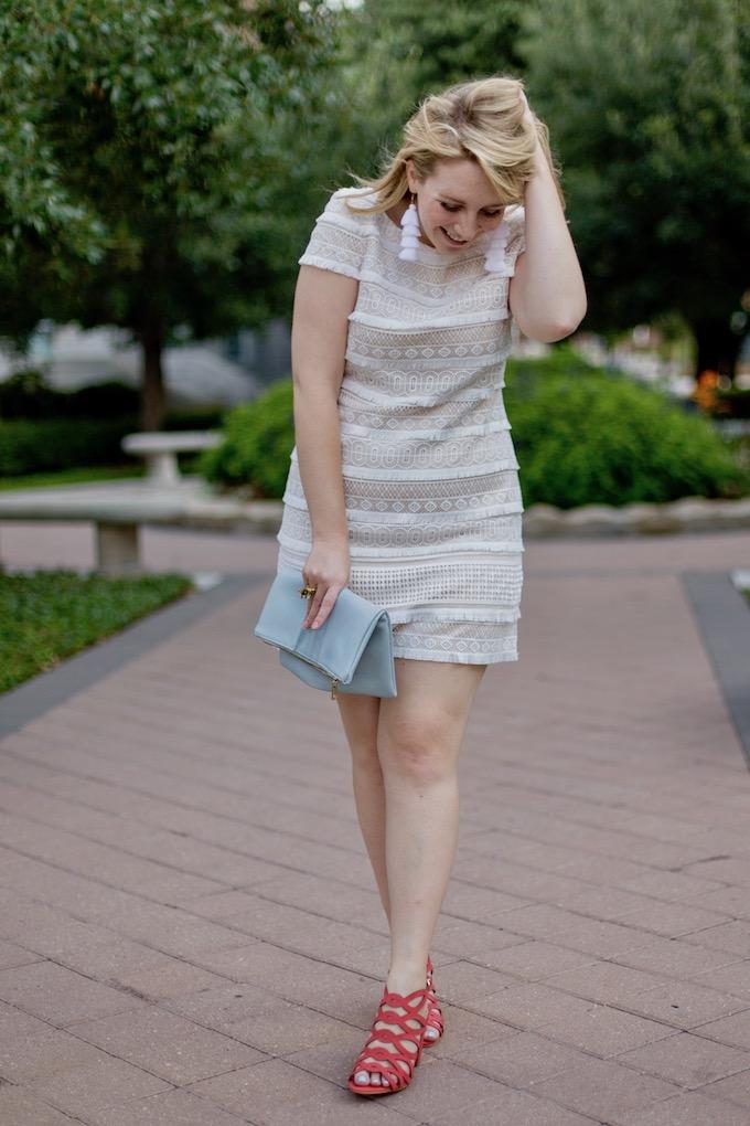 White Fringe Shift Dress