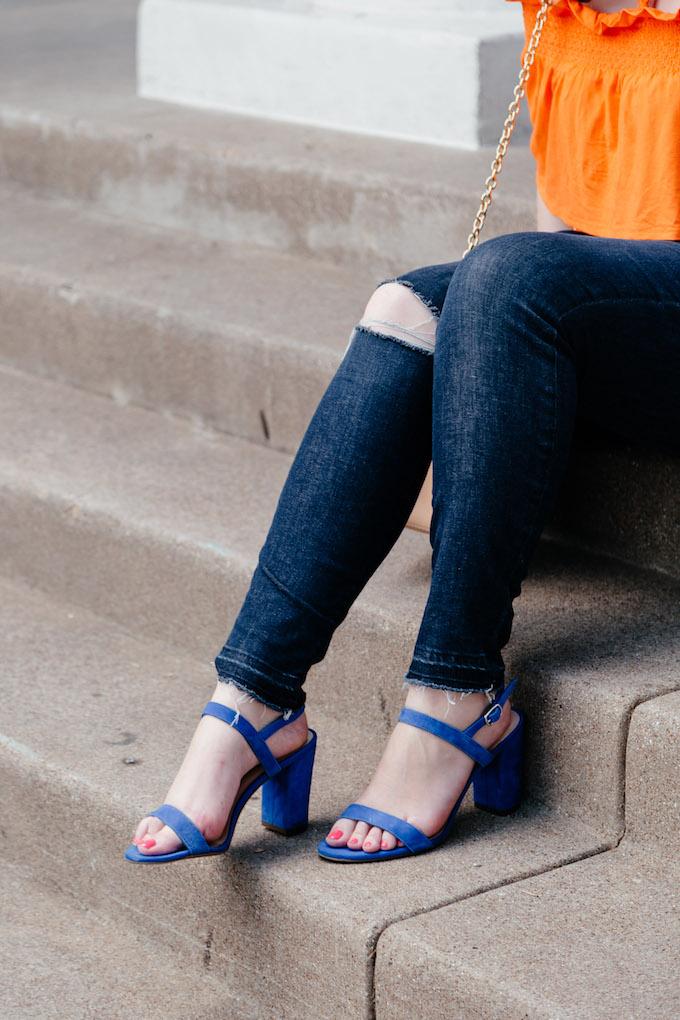 Blue heeled sandals under $100