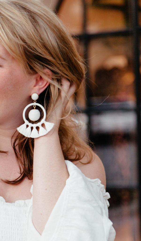 Tuckernuck Orchid White Dreamcatcher Earrings