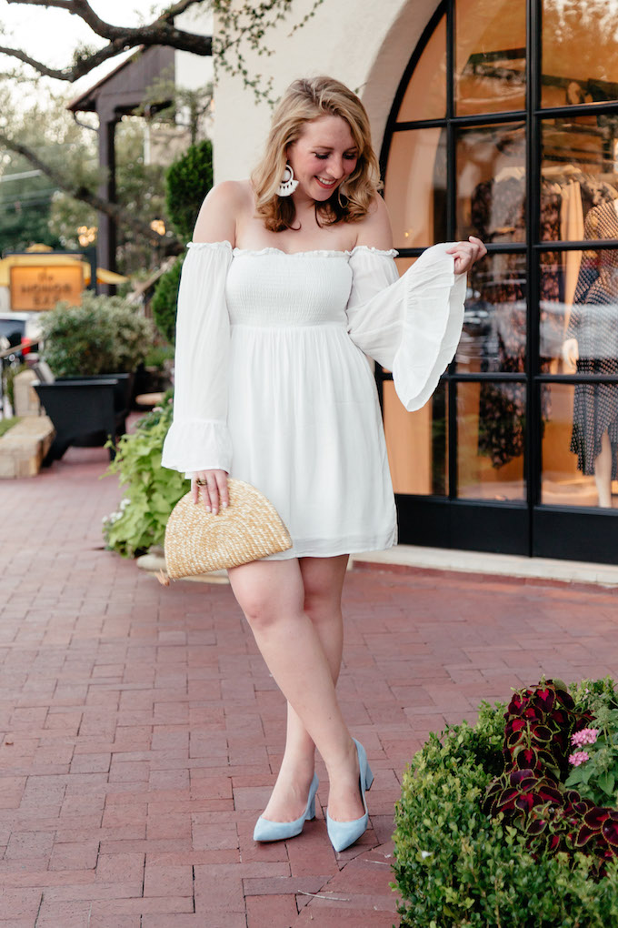 White Off the Shoulder Bell Sleeve Mini Dress