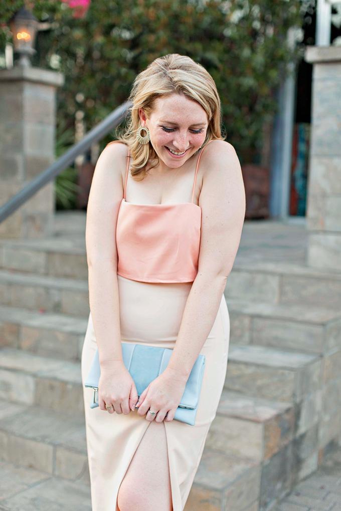 Semi-Formal Attire Wedding, Love Affair Peach Midi Dress