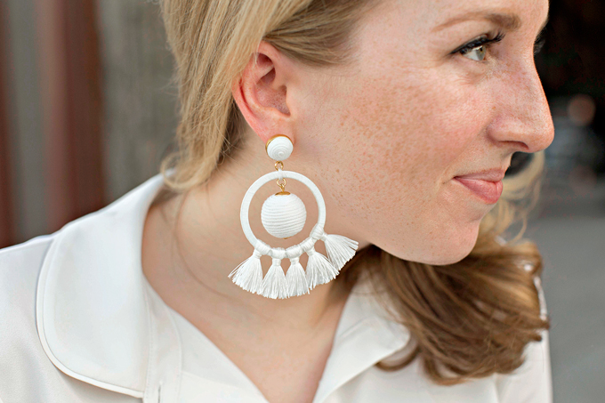 Tuckernuck Tasseled Orchid White Dreamcatcher Earrings