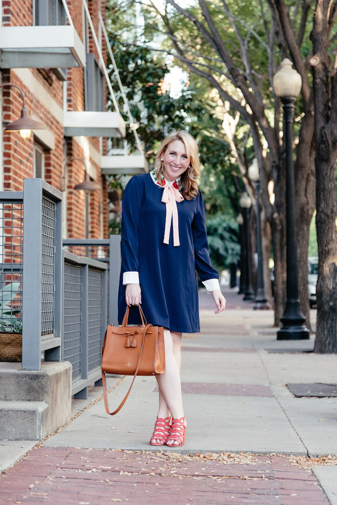 How to Differentiate Yourself as a Blogger, navy shift dress with bow