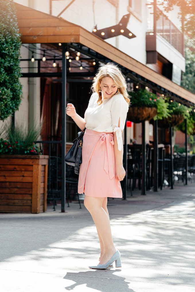 LOFT Fluid Wrap Skirt in Pale Pink