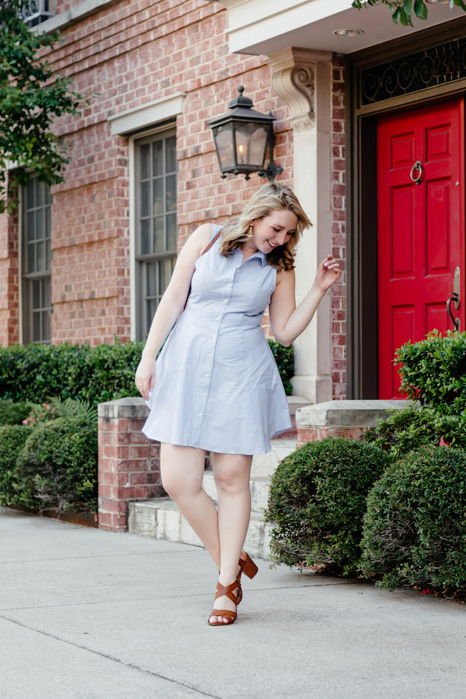 BCBGeneration Collared City Dress in Blue Combo, How to Dress for Fall When it is Hot Outside