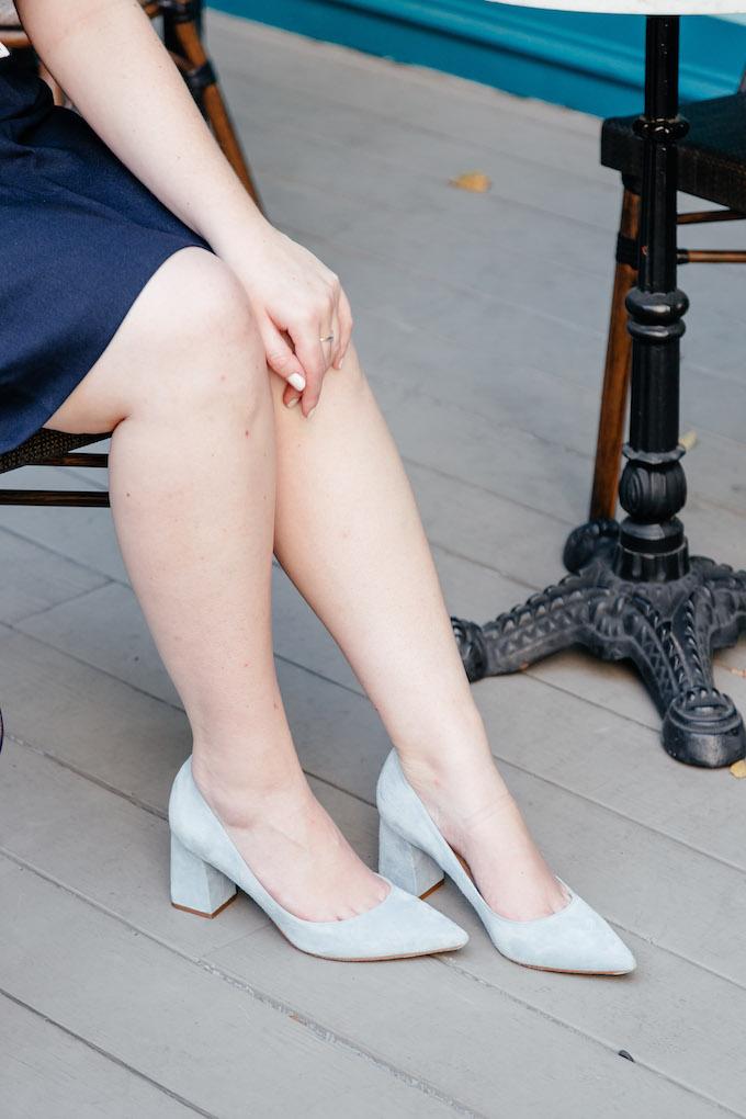Pale blue pointed toe heels