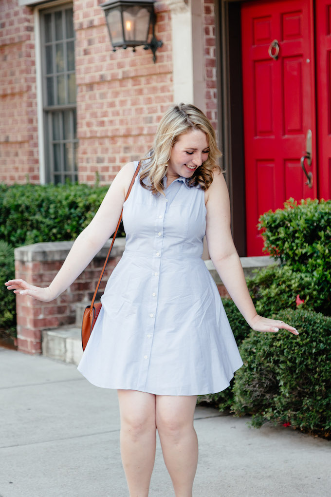 Pale blue shirt dress, How to Transition Summer Clothes to Fall