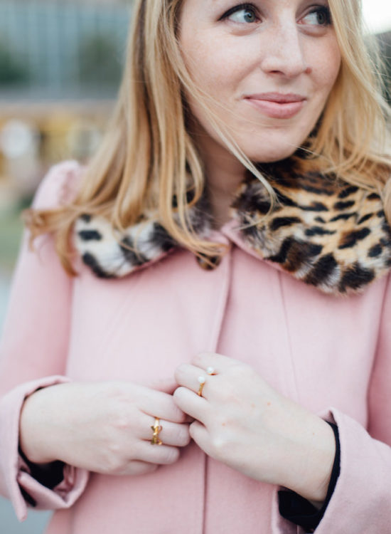 My 11 Favorite Coats of the Season - pink coat with leopard fur trim