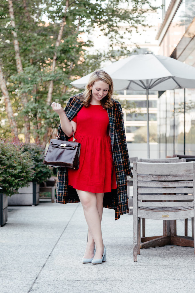 Red smocked dress fit and flare under $100