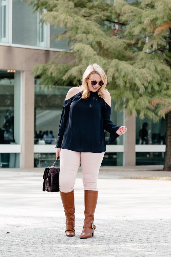 Navy cold shoulder long-sleeved blouse