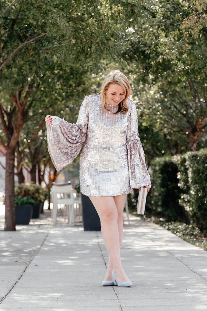 Silver sequin dress with bell sleeves