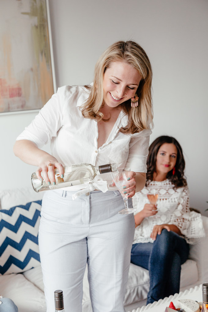 How to Host a Ladies' Night In, How to Host a Girls Night, Ladies' Get-Together Ideas, blue and white striped pants, Ann Taylor Curve pants