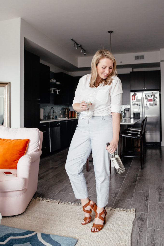 How to wear vertical stripes if you're curvy, Ann Taylor curve pants blogger, cute date outfit if you're curvy