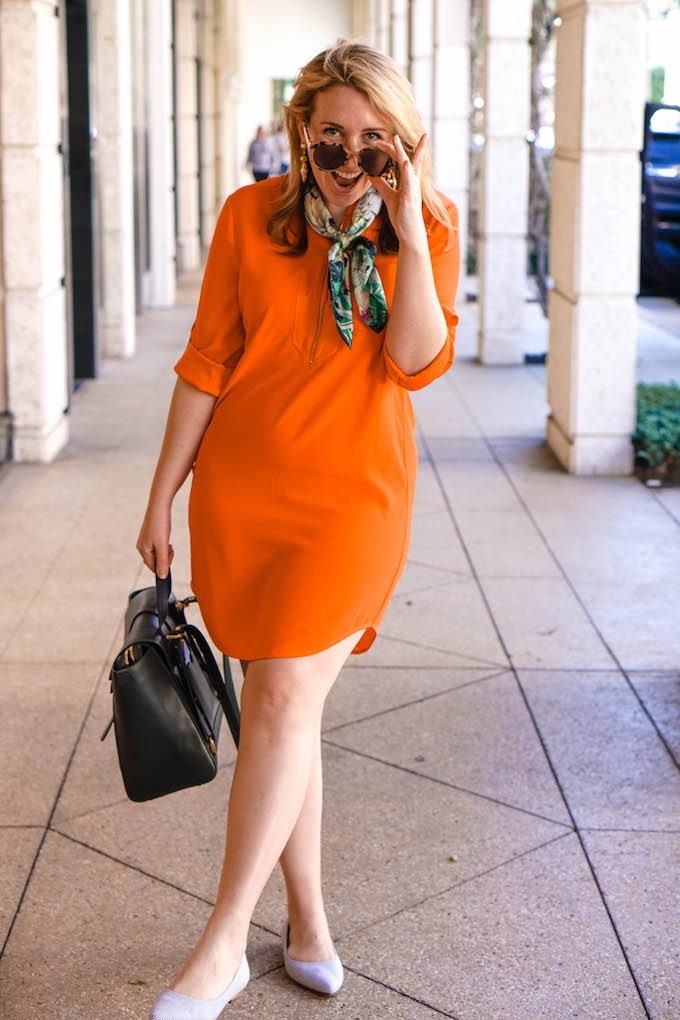 Trina Turk Kaiko dress, orange mini shirtdress, tangerine dress
