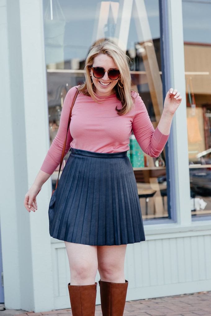 How to Stay Focused When Working From Home, how to wear a pink sweater, how to wear a leather skirt in spring