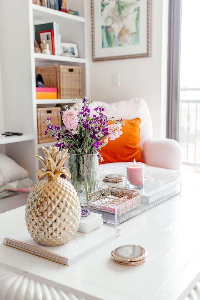 How to Style a Coffee Table, Cute Pineapple Decor, Gold Pineapple Decor, Feminine Dallas Apartment