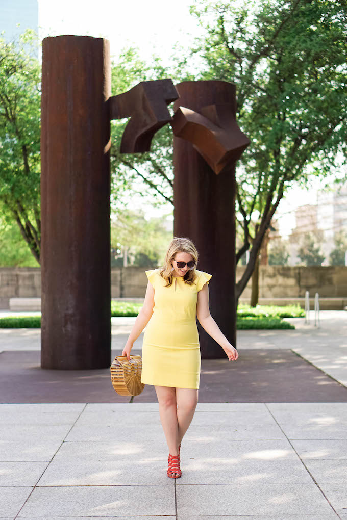 How to Wear a Yellow Dress, How to Wear Pink Shoes, Colorful Summer Work Outfit // Dallas photographers for fashion blogs
