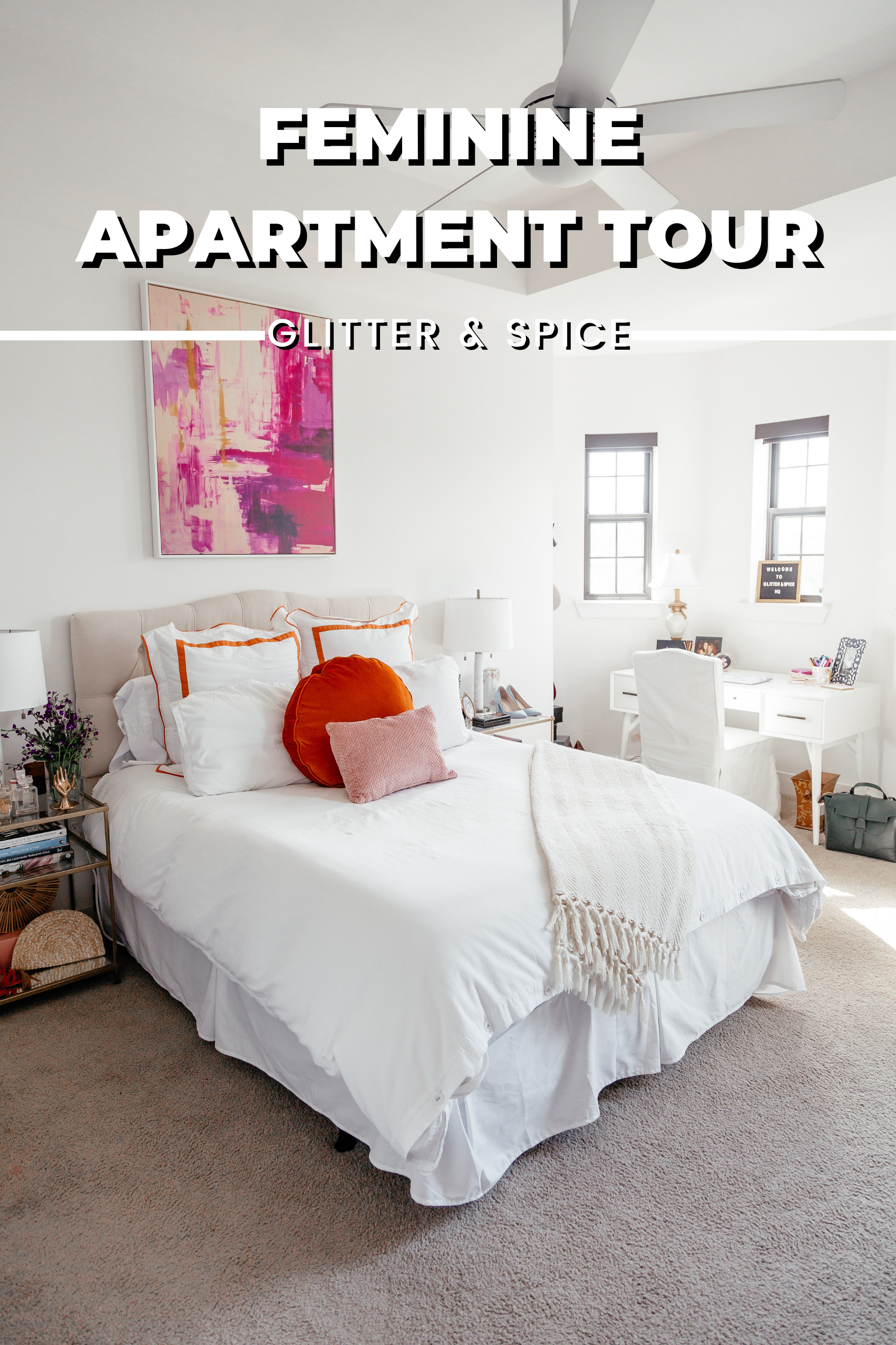 Feminine Dallas Apartment Tour graphic for Pinterest