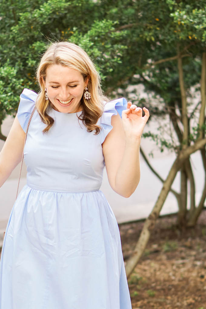 Ruffle Fit & Flare Midi Dress, pale blue dress