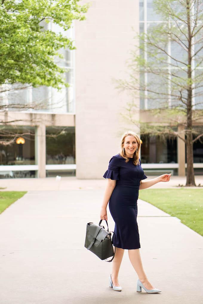Best Camera for Blogging | Business Casual Attire | Navy Work Dress | Dallas Fashion Blogger