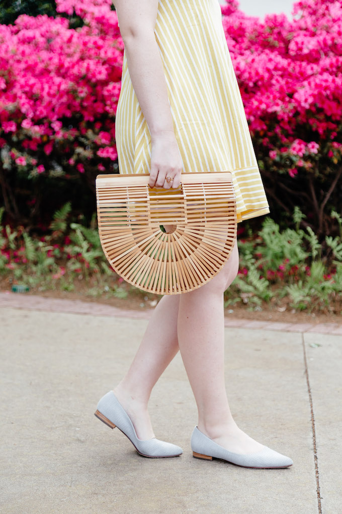 How to Style Blue and White Striped Shoes | Ark Clutch for Summer | What to Wear from Pool to Dinner this Summer