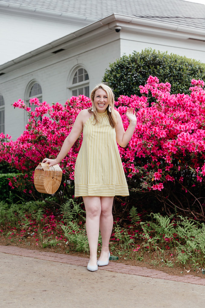 Pattern Mixing Stripes | Yellow Summer Outfit Idea | Yellow Summer Dress | How to Style a Bamboo Bag