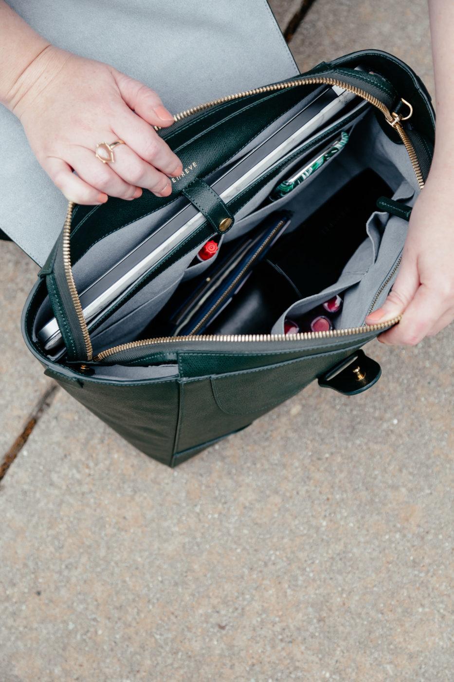 Senreve Maestra Bag | Green Handbag | Best Bags for Organization | Best Bags for Travel via Glitter & Spice
