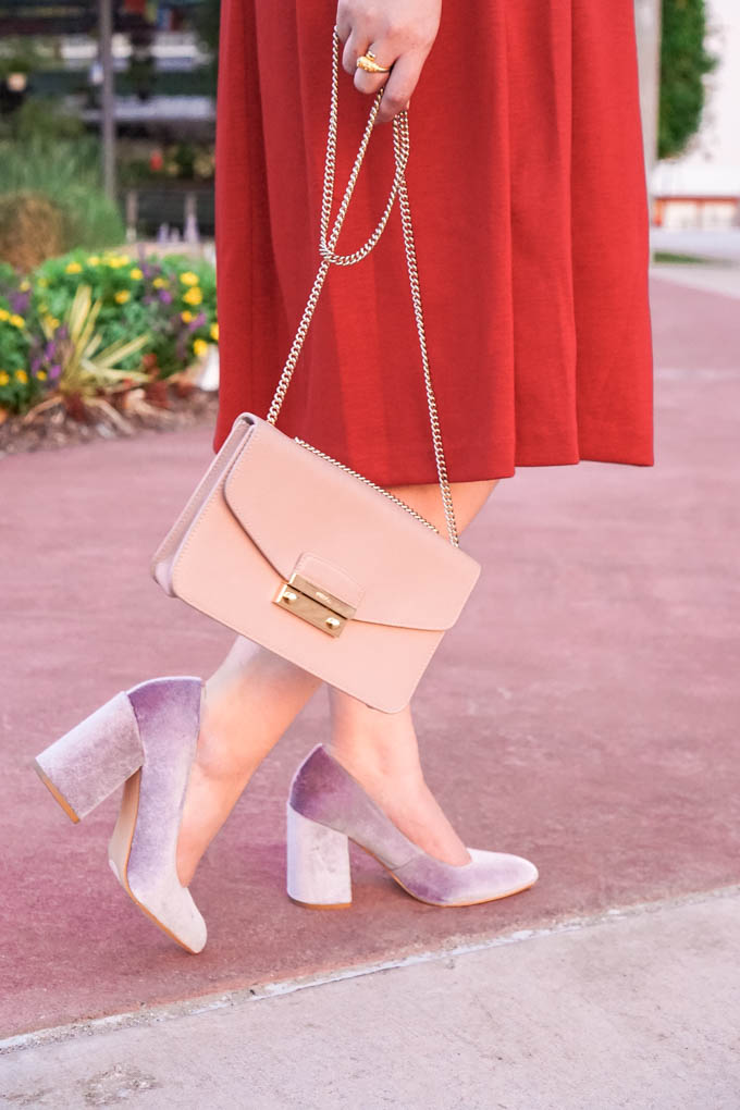 How to Wear Velvet Shoes | How to Style Block Heel Shoes this Fall
