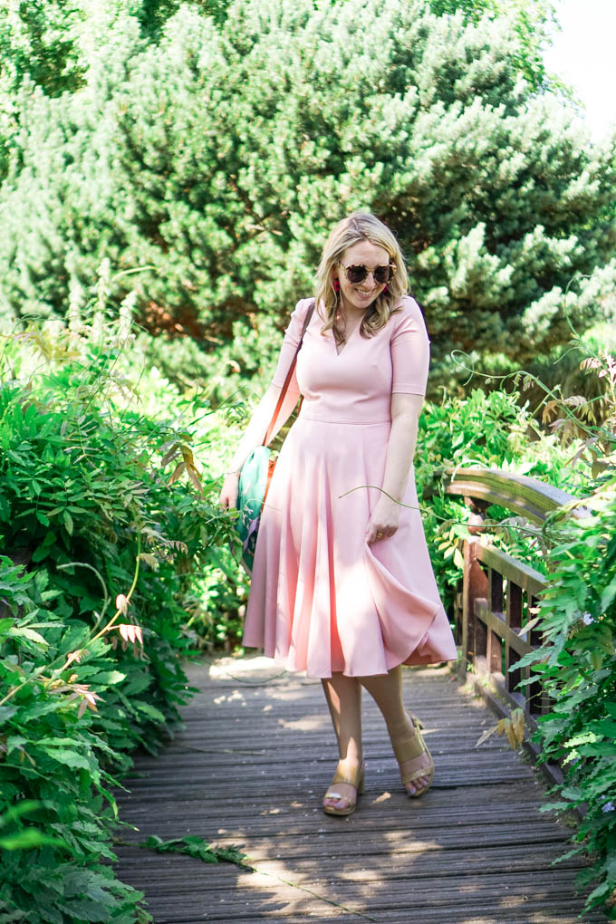 Gal Meets Glam Collection Dress in London | Pink Midi Dress by Fashion Blogger, Glitter & Spice