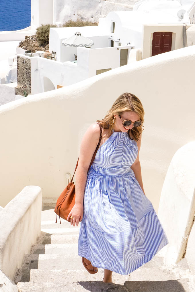Most Instagrammable Places in Greece | Most Instagrammable Spots in Santorini | Striped Midi Dress via fashion blogger, Glitter & Spice