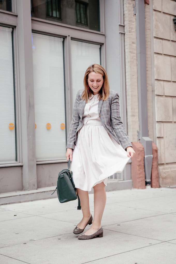 How to Style a White Shirtdress for Fall | White Shirtdress with Plaid Blazer | How to Wear Color this Fall