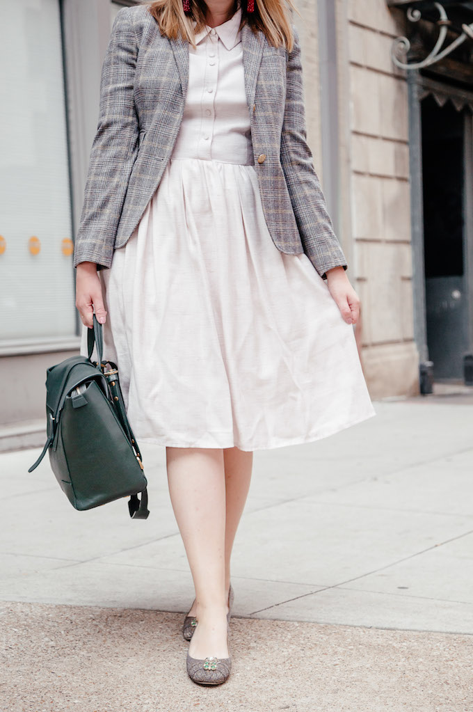Knee Length Dresses to Wear to Work | Gal Meets Glam Collection Dress | Green Senreve Maestra Bag