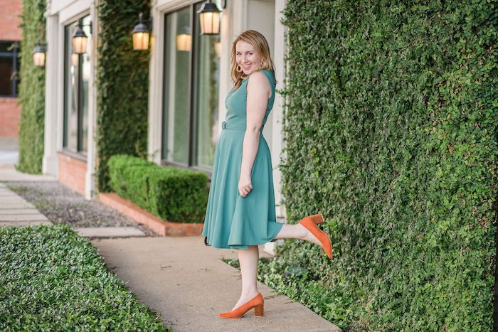 Cute Work Dress | How to Wear Green and Orange this Fall | What to Wear to a Party this Fall