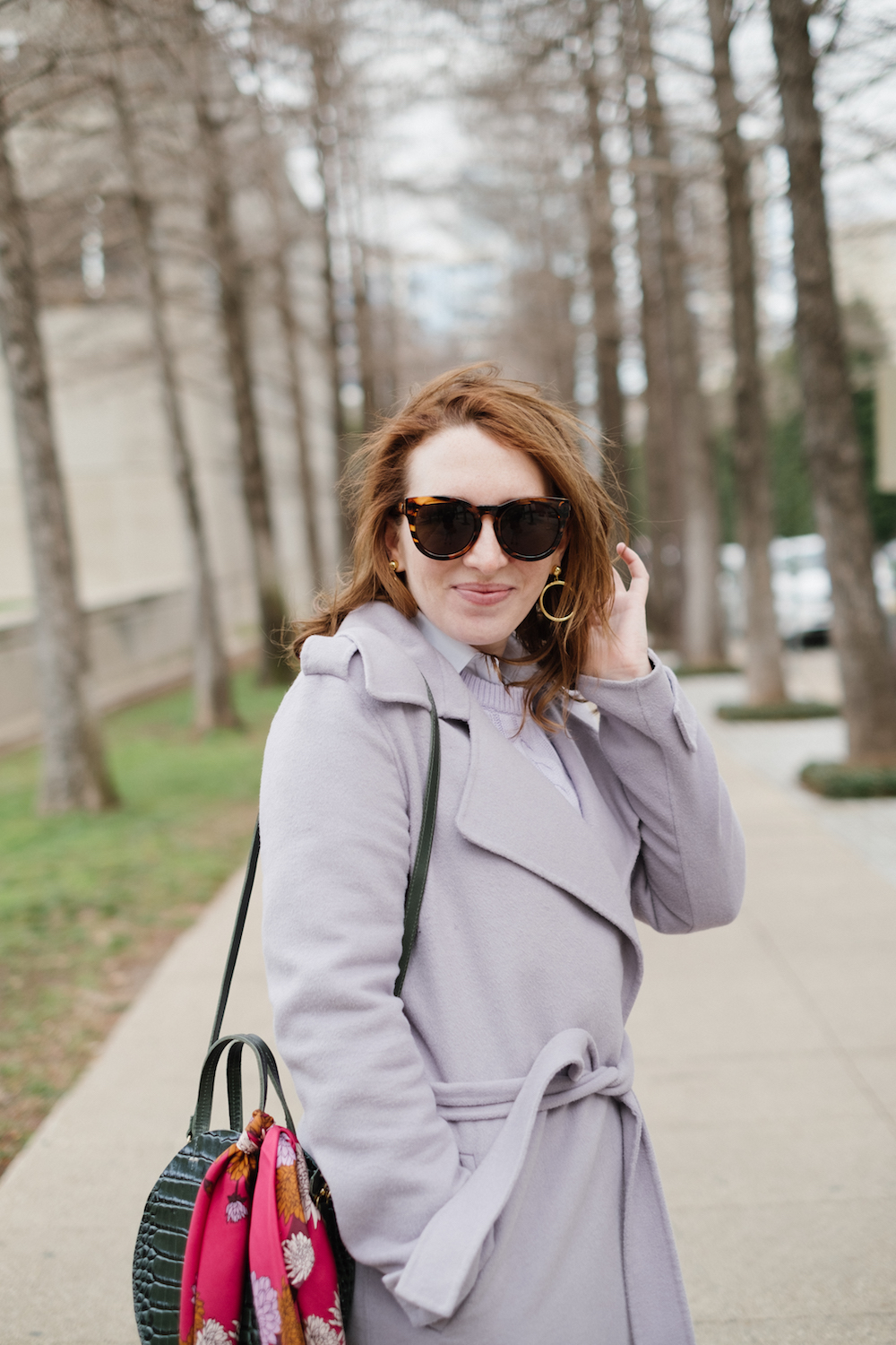 Gold Circle Earrings | Lavender Coat | Lavender Cable-Knit Sweater | Green Circle Bag | How to Style a Silk Scarf | How to Dress Colorfully in Winter | Colorful Winter Outfit Inspiration via Dallas Fashion Blogger, Glitter & Spice