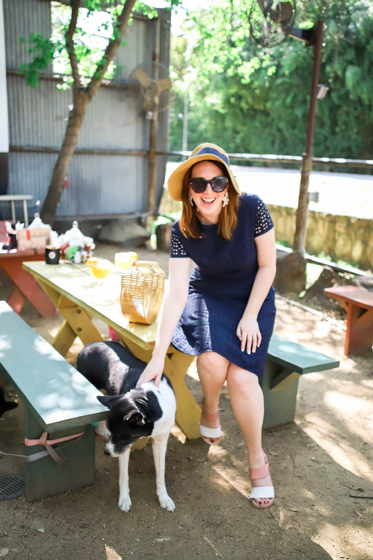 Best dog-friendly first date restaurants in Dallas | Best Patio Restaurants in Dallas | What to Wear in the Spring in Texas | Navy Eyelet Dress
