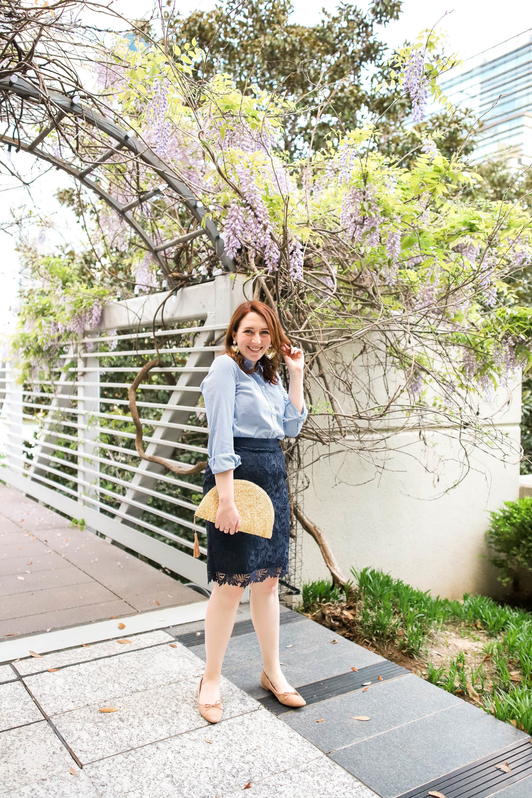 Lace Pencil Skirt and Striped Button Down | Workwear Outfit Inspiration | How to Wear Flats with a Knee-Length Skirt | What to Wear to Work this Spring in Dallas