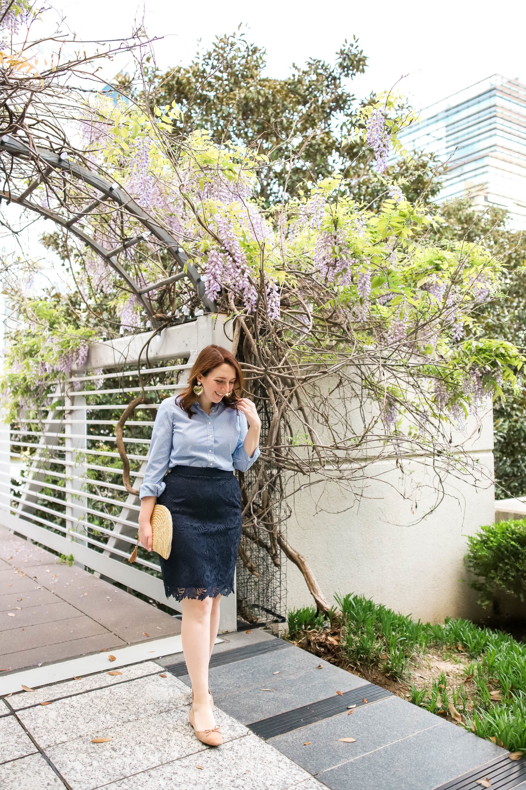 Spring Workwear Inspiration | Spring Work Outfit | What to Wear to Work this Spring | Navy Lace Skirt | Pencil Skirt