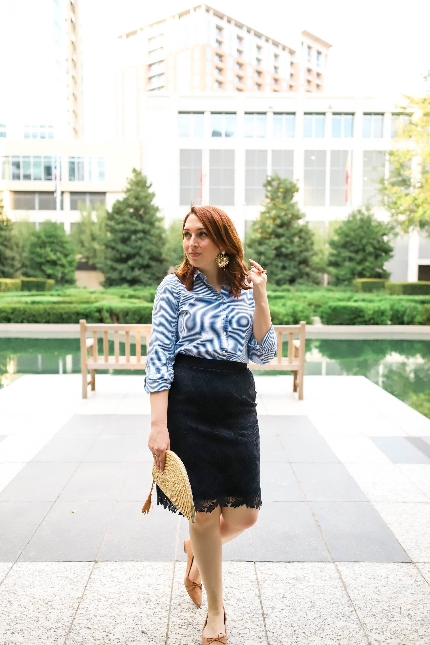 Striped Button Down and Pencil Skirt | Work Outfit Idea #anntaylor #jcrew