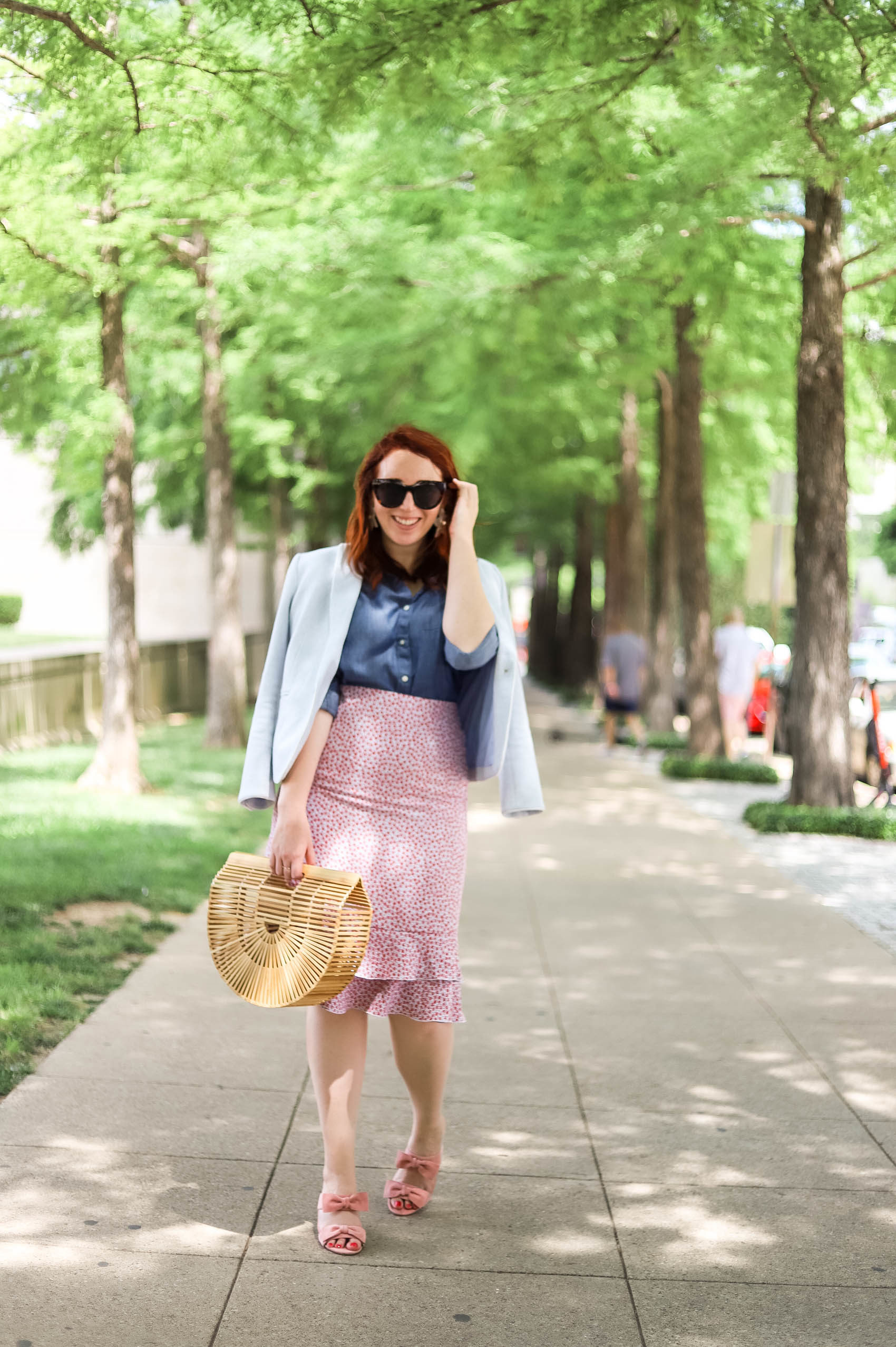 Blogger shares her tips to help you keep in touch with long-distance friends, using examples of her best friend who moved abroad | Wearing summer blazer, chambray shirt, and floral midi skirt #fashion #style #friendship #summerstyle #summerfashion #femininestyle #preppy
