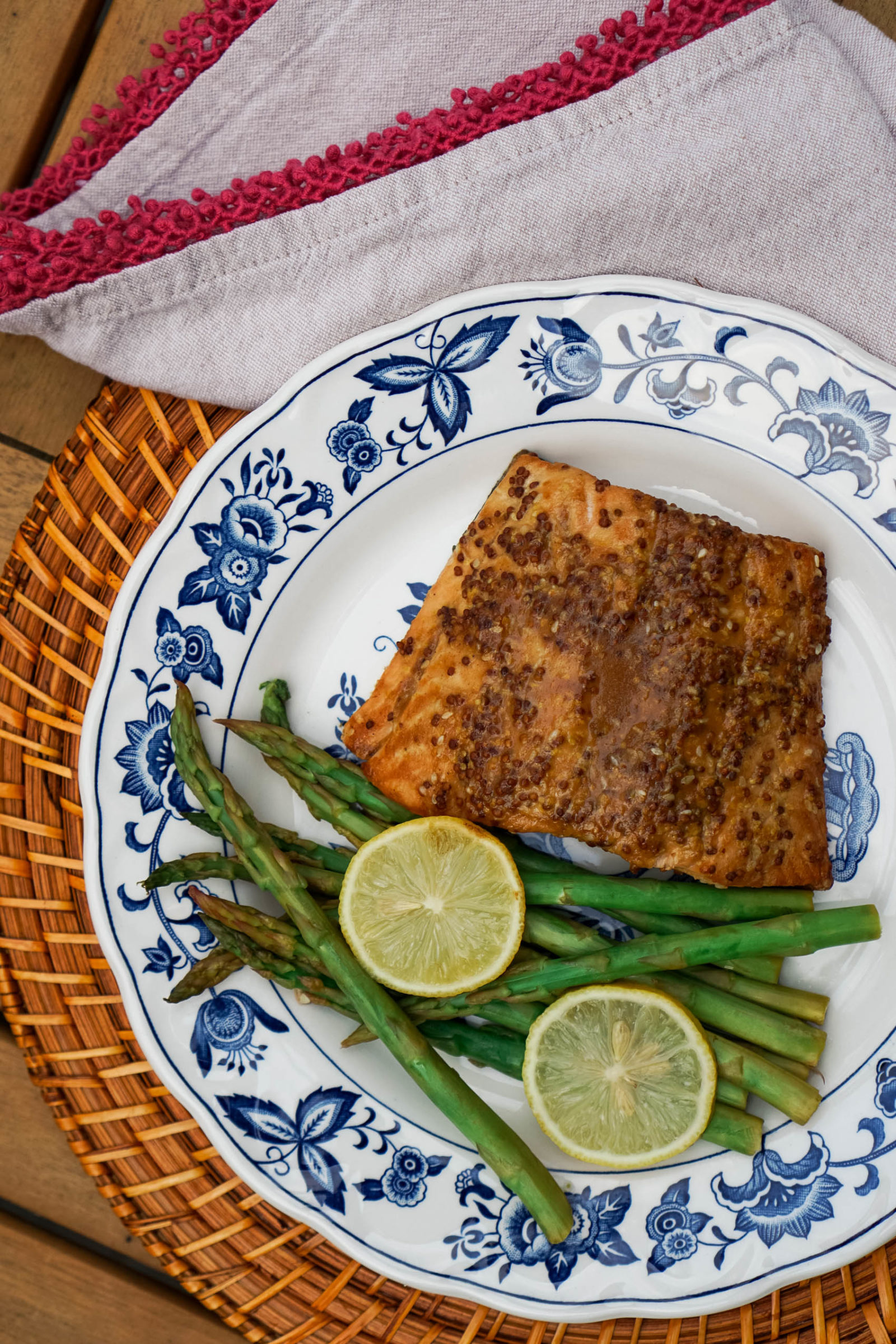 Healthy Weeknight Dinner Recipe: Sesame-Ginger Salmon | Requiring less than 30 minutes of active cooking time, this recipe is perfect for a protein-packed weeknight dinner if you only want to use one pan