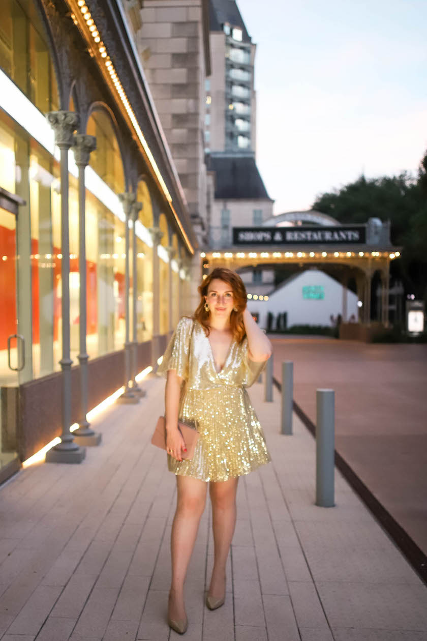 Blogger styles gold sparkly mini dress as she shares why she took a 6 month break from blogging