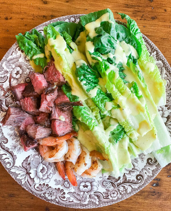 Weeknight dinners for one thumbnail featuring Defined Dish's steak house caesar salad