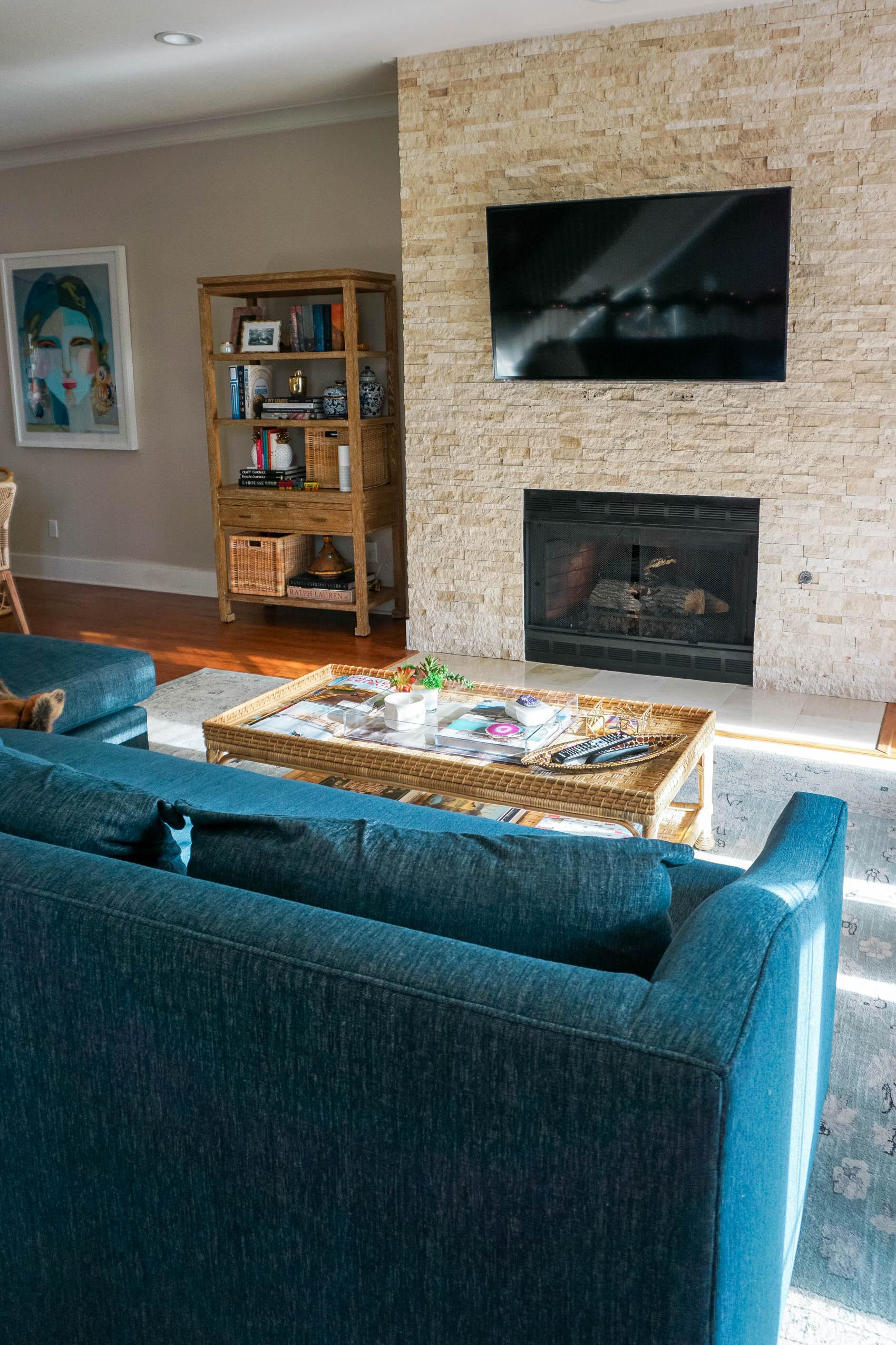Coastal Living Room Reveal room view