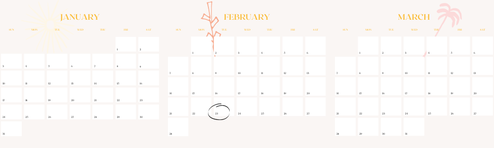 Calendar of Q1 2021 to show how to space out major purchases