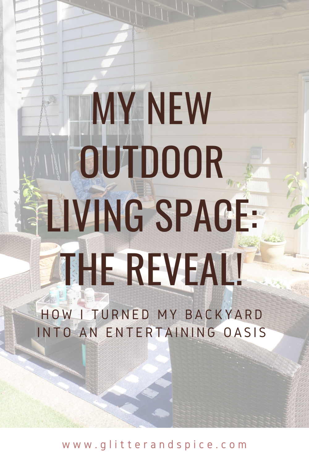 outdoor living space reveal image for pinterest